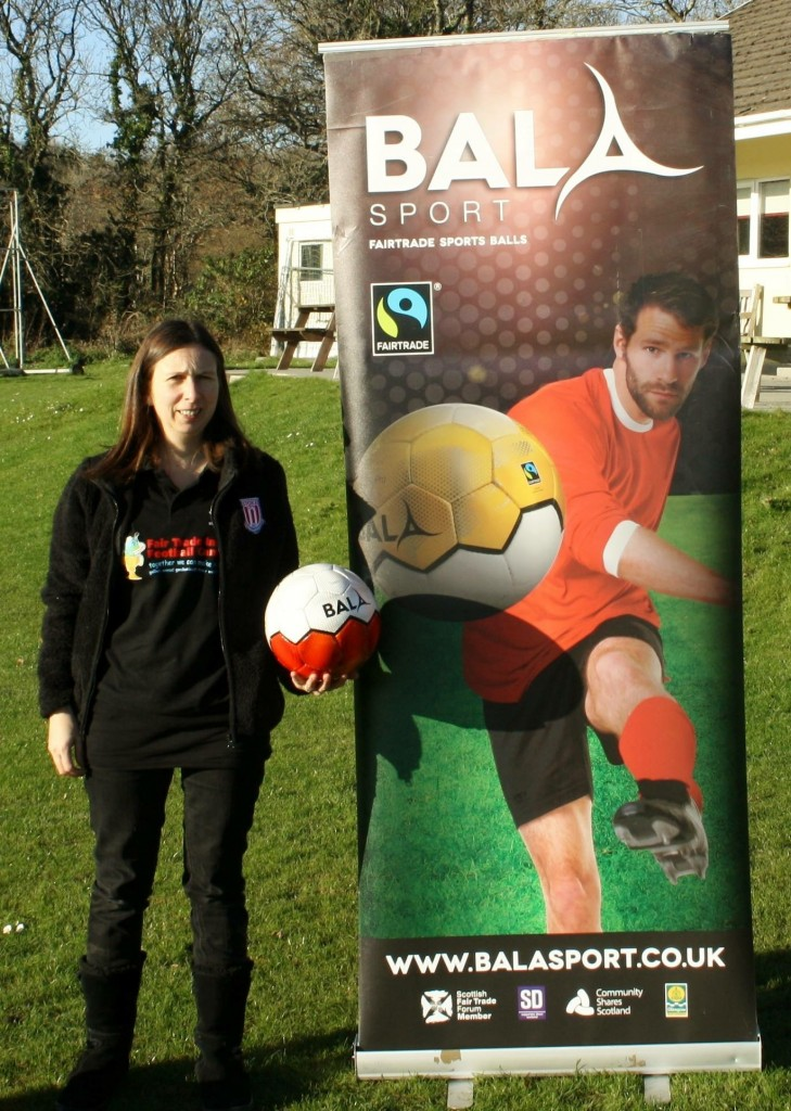Sharron Hardwick from Fair Trade in Football Campaign with Kilgetty AFC