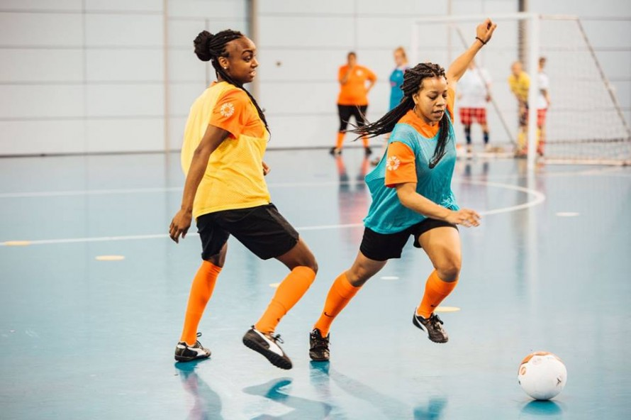 Fair Trade futsal balls in women's matches at European Football Festival