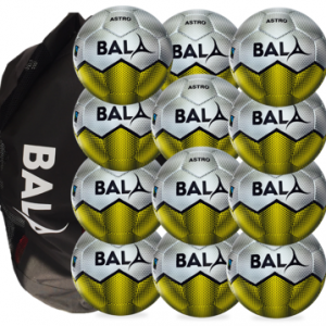 Package contaning 12 Fair Trade Bala Sport Astro footballs and Bag