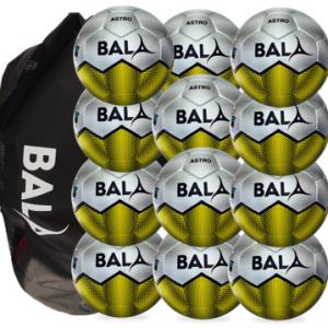 Package contaning 12 Fair Trade Bala Sport Astro footballs and Bag