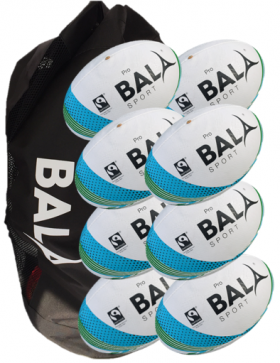 10 Pro Fair Trade Match Quality Rugby Balls and Bag Package from Bala Sport