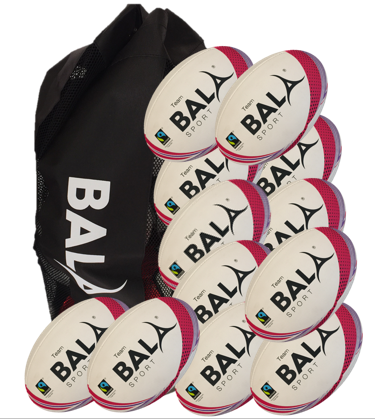 12 Fair Trade Team Training Match quality Rugby Balls and Bag from Bala Sport