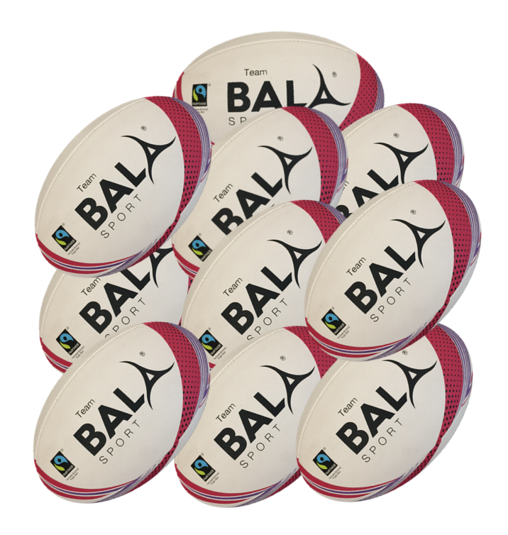 10 Fair GTrtade GTeam Rugby Balls from Bala Sport