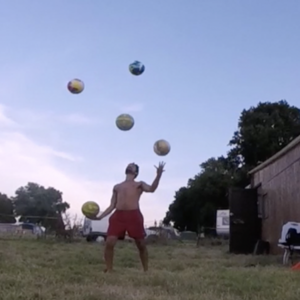 Norman Habri juggles 5 Fairtrade Bala Sport Balls